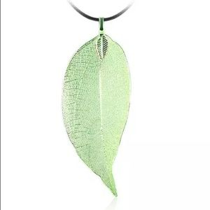 Green Real Leaf Necklace Dipped Electroplated